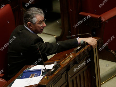 Northern League's Umberto Bossi sits at the Italian Lower Chamber in Rome