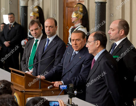 People for Freedom, PDL, party leader Silvio Berlusconi, center, is flanked by senator Renato Schifani, right, Northern League lawmaker Massimo Bitonci, left, and PDL secretary Angelino Alfano, second from left, gives a statement after talks with Italian President Giorgio Napolitano on the formation of a new government, in Rome's Quirinale presidential palace, . Fresh elections could soon be called if President Napolitano, after consultations on Wednesday and Thursday, decides no one can muster a reliable enough majority in Parliament to enact the economic and electoral reforms needed to pull Italy out of recession and improve future prospects for stable governments