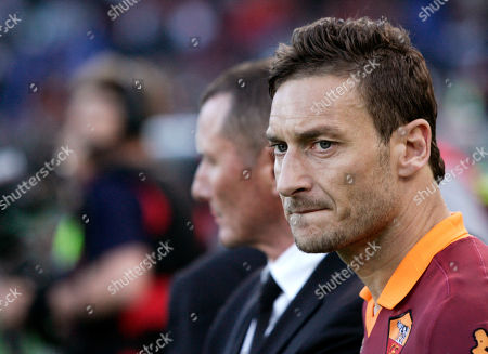 Miroslav Klose AS Roma forward Francesco Totti stands on the pitch at the end of the Italian Cup, final soccer match between AS Roma and Lazio, at Rome's Olympic stadium, . Lazio took city bragging rights by beating Roma 1-0 Sunday in a derby to win a heated Italian Cup final and maintain its recent edge in the series. Bosnia-Herzegovina midfielder Senad Lulic scored in the 71st minute at the Stadio Olimpico after Roma goalkeeper Bogdan Lobont failed to clear a cross from Antonio Candreva, leaving Lulic to put the ball in uncontested by the far post