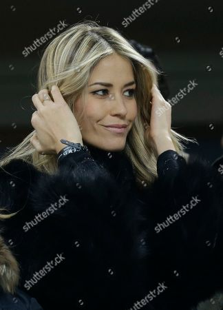 Italian actress Elena Santarelli attends a Serie A soccer match between AC Milan and Lazio, at the San Siro stadium in Milan, Italy