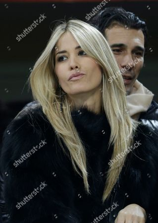 Italian showgirl and actress Elena Santarelli and her partner Bernardo Corradi attend a Serie A soccer match between AC Milan and Lazio, at the San Siro stadium in Milan, Italy