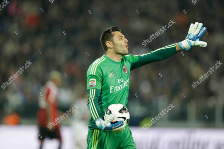 AC Milan goalkeeper Marco Amelia gestures during a Serie A soccer match between Inter Juventus and AC Milan, at the Juventus stadium in Turin, Italy
