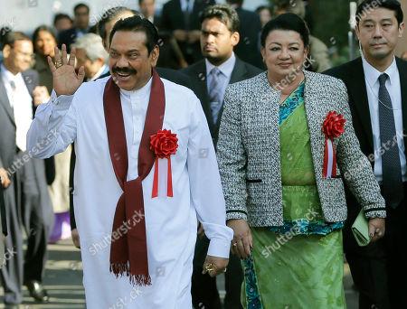 Mahinda Rajapaksa, Shiranthi Rajapaksa Sri Lankan President Mahinda Rajapaksa, left, waves as he walks with his wife Shiranthi Rajapaksa while visiting the Tama Zoological Park in Tama, on the outskirts of Tokyo