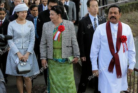 Mahinda Rajapaksa, Shiranthi Rajapaksa, Tsuguko Sri Lankan President Mahinda Rajapaksa, right, walks with his wife Shiranthi Rajapaksa, center, and Japanese Princess Tsuguko while visiting the Tama Zoological Park in Tama, on the outskirts of Tokyo . Sri Lanka's president is on a four day official visit to Japan