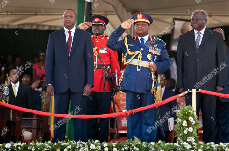 Mwai Kibaki, Uhuru Kenyatta Previous President of Kenya Mwai Kibaki, far right, looks across as his successor Uhuru Kenyatta, center-left, is inaugurated as Kenya's President, at Kasarani, near Nairobi in Kenya . Uhuru Kenyatta, 51, the son of Kenya's first president, was sworn in as Kenya's fourth president Tuesday in a stadium filled with tens of thousands of Kenyans and a dozen African leaders, becoming the second sitting African president to face charges at the International Criminal Court, over allegations he helped orchestrate the vicious tribe-on-tribe violence that marred Kenya's previous 2007 presidential election