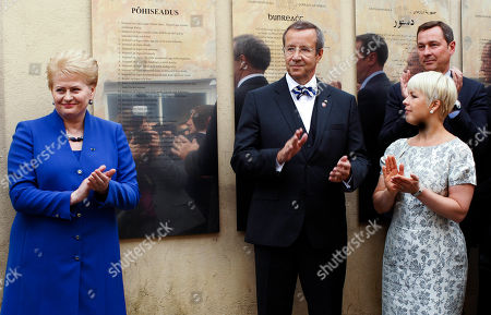 Toomas Hendrik Ilves, Dalia Grybauskaite, Evelin Ilves, Arturas Zuokas Estonia's President Toomas Hendrik Ilves, center, his wife Evelin Ilves, front right, Lithuania's President Dalia Grybauskaite, left, and Mayor of Vilnius Arturas Zuokas, right, attends the opening of the Estonian memorial board in the old city in Vilnius, Lithuania