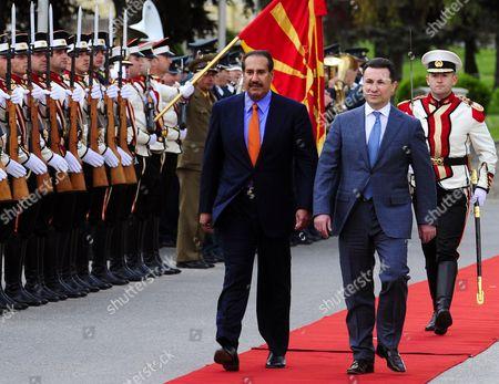 Hamad bin Jassim bin Jaber Al Thani, Nikola Gruevski Qatari Prime Minister Sheikh Hamad bin Jassim bin Jaber Al Thani, foreground left, is welcomed by Macedonian Prime Minister Nikola Gruevski, foreground right, upon his arrival to Skopje, Macedonia, on