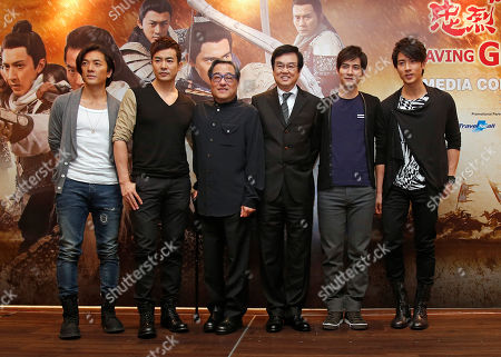 """Ekin Cheng, Yu Bo, Ronny Yu, Raymond Wong, Vic Chou, Wu Chun Actors, director and producer from left, Hong Kong actor Ekin Cheng, Chinese actor Yu Bo, Hong Kong director Ronny Yu, Hong Kong producer Raymond Wong, Taiwanese actor Vic Chou and Taiwanese actor Wu Chun pose for photographers during a press conference to promote their latest film """"Saving General Yang"""" in Kuala Lumpur, Malaysia"""