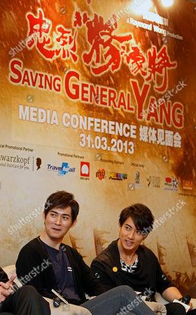 "Vic Chou, Wu Chun Taiwanese actors Vic Chou, left, and Wu Chun attend a press conference to promote their latest film ""Saving General Yang"" in Kuala Lumpur, Malaysia"