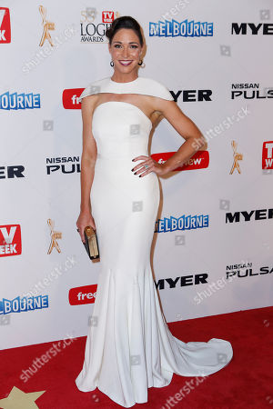 Australian television personality Giaan Rooney arrives for the 2013 Logie Awards at Crown Casino in Melbourne, Australia