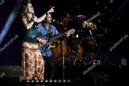 Spanish vocalist María del Mar Rodriguez Carnero or La Mari, of the flamenco-electronic band Chambao performs with the band at the Cumbre Tajin music festival in Papantla, Mexico