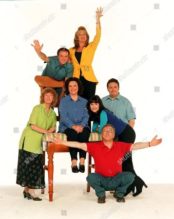 'Barbara'  TV - 2002 - Sam Kelly as Ted and Gwen Taylor as Barbara.Barbara's family Benedict Sandiford (hanging) as Neil; from bottom left: Sherrie Hewson as Jean; Madge Hindle as Doreen; Gwen Taylor as Barbara; Elizabeth Carling as Linda; Mark Benton as her husband Martin, and Sam Kelly as Barbara's husband Ted.