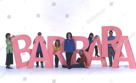 Stock Image of 'Barbara'  TV - 2000 - L TO R Madge Hindle as Doreen, Benedict Sandiford as Neil, Sherrie Hewson as Jean, Gwen Taylor as Barbara, Sam Kelly as Ted, Elizabeth Carling as Linda, Mark Benton as Martin.