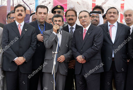 Mahmoud Ahmadinejad, Asif Ali Zardari, Yousuf Raza Gilani Iranian President Mahmoud Ahmadinejad, center left, talks on a hand-held radio to order the official start of construction on a pipeline to transfer natural gas from Iran to Pakistan, as his Pakistani counterpart Asif Ali Zardari, center right, looks, in Chabahar, southeastern Iran, near the Pakistani border, . The leaders of Pakistan and Iran on Monday pushed ahead with a pipeline to bring natural gas from Iran despite American opposition, with the Iranian president saying the West has no right to block the project. Former Pakistani Prime Minister Yousuf Raza Gilani stands at left