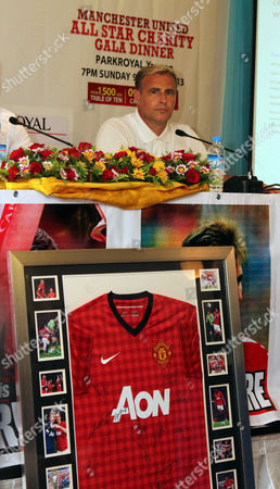 Clayton Blackmore, former Manchester United players, talks during a press conference of All Star Charity Football Match at Park Royal Hotel, in Yangon, Myanmar