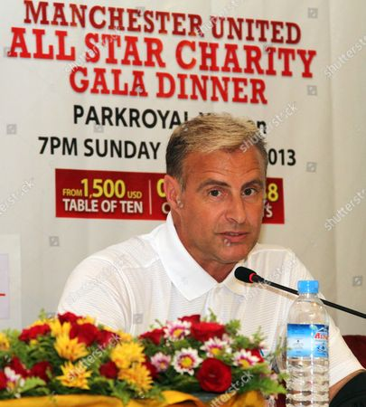 Clayton Blackmore, former Manchester United player, talks during a press conference of All Star Charity Football Match at Park Royal Hotel, in Yangon, Myanmar