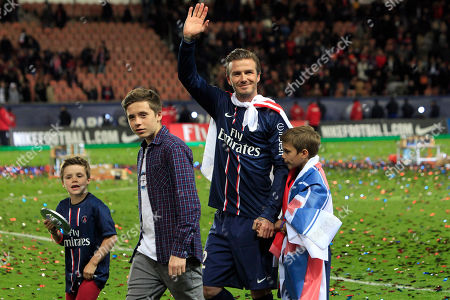 David Beckham Paris Saint-Germain's midfielder David Beckham, center, waves at supporters surrounded by his sons, Brooklyn, second from left, Cruz, left, and Romeo James, right, as they celebrate PSG's French League One title, at the Parc des Princes stadium, in Paris. Brooklyn, the name, surged from No. 912 overall in 1990 - three years after the birth of model and actress Brooklyn Decker in Kettering, Ohio - to an all-time high of No. 21 in 2011, according to the Social Security Administration data. It ranked No. 182 overall in 1999, the year soccer star David Beckham and his wife, Victoria, named their son Brooklyn
