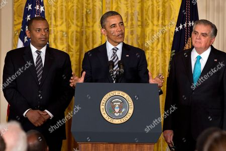 Barack Obama, Anthony Foxx, Ray LaHood President Barack Obama, flanked by Transportation Secretary Ray LaHood, right, and his nominee to succeed LaHood, Charlotte, N.C. Mayor Anthony Foxx, makes the announcement, in the East Room of the White House in Washington