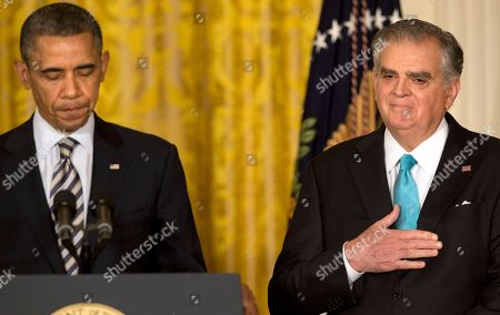 Barack Obama, Ray LaHood Transportation Secretary Ray LaHood, right, places his hand over his heart as President Barack Obama describes his service while announcing the nomination of Charlotte, N.C., Mayor Anthony Foxx, not pictured, to succeed LaHood, in the East Room of the White House in Washington