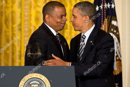 Barack Obama, Anthony Foxx President Barack Obama embraces Charlotte, N.C., Mayor Anthony Foxx in the East Room of the White House in Washington, where the president announced he would nominate Foxx as transportation secretary succeeding Ray LaHood