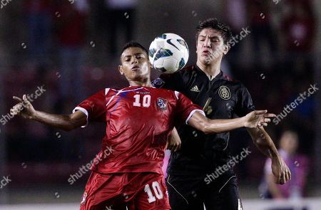 Ismael Diaz, Pedro Teran Panama's Ismael Diaz, left, and Mexico's Pedro Teran fight for the ball during the final of the Concacaf Under-17 men's championship in Panama City