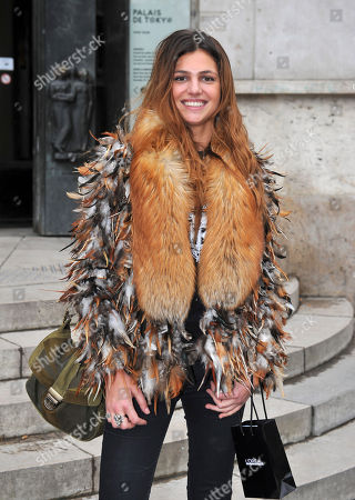 Stock Image of French actress Priscilla De Laforcade leaves French fashion designer Alexis Mabille's Ready to Wear's Fall-Winter 2013-2014 fashion collection, presented, Wednesday, Feb.27, 2013 in Paris