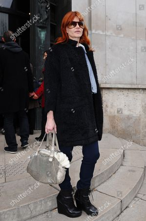 Singer Axelle Red leaves Belgian fashion designer Veronique Leroy's Ready to Wear Fall-Winter 2013-2014 fashion collection presentation, in Paris