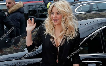 """Shakira Colombian singer Shakira arrives for a promotion event on the Champs Elysee Avenue in Paris. The singer and judge on """"The Voice"""" is asking a New York judge to throw out a $250 million lawsuit filed by her ex, Antonio de La Rua. De la Rua is the son of former Argentine President Fernando de la Rua. He dated Shakira for more than a decade before they split in 2011"""