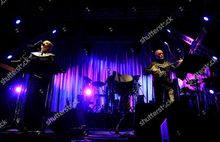 Lisa Gerrard, left, and Brendan Perry, of English-Australian rock band Dead Can Dance, perform during the Optimus Primavera Sound music festival in Porto, Portugal