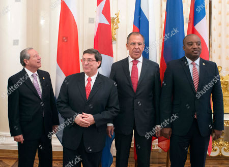 Enrique Castillo, Bruno Rodriguez Parrilla, Sergey Lavrov, Pierre-Richard Casimir From left, Costa Rican Foreign Minister Enrique Castillo, Cuban Foreign Minister Bruno Rodriguez Parrilla, Russian Foreign Minister Sergey Lavrov and Haitian Foreign Minister Pierre-Richard Casimir pose for a group photograph during a meeting on regional and international cooperation in Moscow, Russia