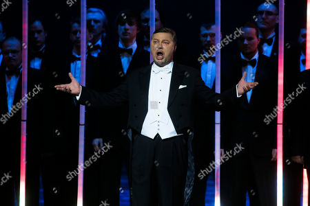 """Rene Pape On, German bass Rene Pape performs during a """"pre-premiere"""" performance, put on for veterans and senior employees of the theatre in the new Mariinsky Theatre on the eve of the it's official opening in St.Petersburg, Russia"""