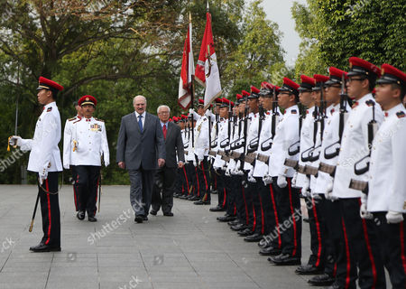 Aleksandr Lukashenko, Tony Tan President of Belarus Aleksandr Lukashenko, center left, and Singapore's President Tony Tan, right, inspects honor guards during a welcome ceremony at the Istana or Presidential Palace during his official state visit on in Singapore