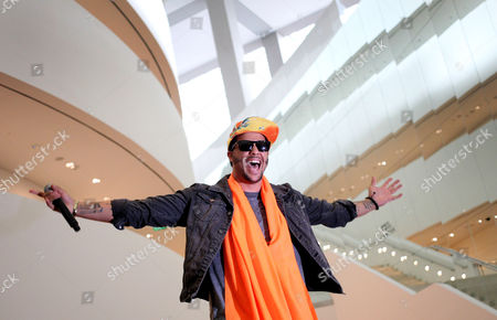 Stock Photo of SkyBlu American rapper SkyBlu gestures during a press conference on in Singapore ahead of the inaugural Social Star Awards
