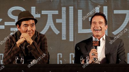 "Arnold Schwarzenegger, Kim Jee-woon Actor Arnold Schwarzenegger, right, and South Korean director Kim Jee-woon attend a press conference to promote their latest film ""The Last Stand"" in Seoul, South Korea, . The movie will open on Thursday, Feb. 21, in South Korea"