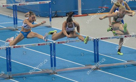 Derval O'Rourke, Veronica Borsi, Nevin Yanit From left, Italy's Veronica Borsi, Turkey's Nevin Yanit, and Ireland's Derval O'Rourke compete at the women's 60m hurdles final, during the Athletics European Championships in Gothenburg, Sweden, . Turkey's Nevin Yanit won the gold