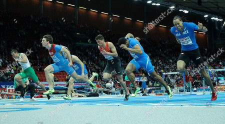 From left, Hungary's Balazs Baji, Russia's Sergey Shubenkov, Russia's Konstantin Shabanov, Germany's Erik Balnuweit, Italy's Paolo Dal Molin and France's Pascal Martinot Lagarde compete in the final of the men's 60m hurdles during the Athletics European Championships in Gothenburg, Sweden