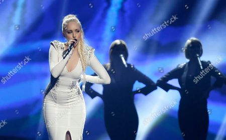 Margaret Berger of Norway performs her song I Feed You My Love during a rehearsal for the second semifinal of the Eurovision Song Contest at the Malmo Arena in Malmo, Sweden, . The contest run by European television broadcasters the event being held in Sweden as they won the competition in 2012, the final is held May 18