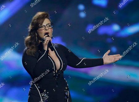Stock Picture of Moran Mazor of Israel performs her her song, Rak Bishvilo, (Only for You) during a rehearsal for the second semifinal of the Eurovision Song Contest at the Malmo Arena in Malmo, Sweden, . The contest run by European television broadcasters the event being held in Sweden as they won the competition in 2012, the final is held May 18