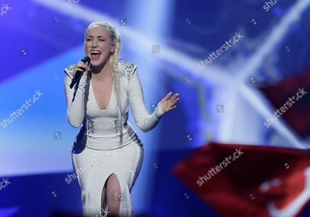 Margaret Berger of Norway performs her song I Feed You My Love during the second semifinal of the Eurovision Song Contest at the Malmo Arena in Malmo, Sweden, . The contest is run by European television broadcasters with the event being held in Sweden as they won the competition in 2012, the final will be held in Malmo on May 18