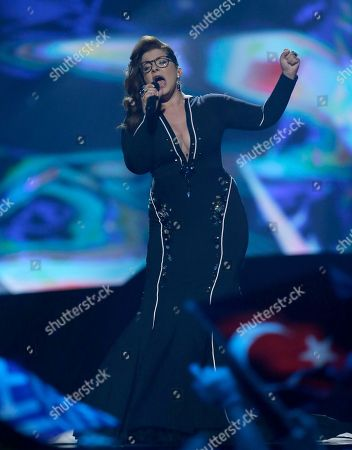 Stock Photo of Moran Mazor of Israel performs her her song Rak Bishvilo (Only for You) during the second semifinal of the Eurovision Song Contest at the Malmo Arena in Malmo, Sweden, . The contest is run by European television broadcasters with the event being held in Sweden as they won the competition in 2012, the final will be held in Malmo on May 18