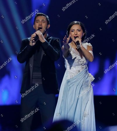 Stock Photo of Nodi Tatishvili and Sophie Gelovani of Georgia perform their song Waterfall during the second semifinal of the Eurovision Song Contest at the Malmo Arena in Malmo, Sweden, . The contest is run by European television broadcasters with the event being held in Sweden as they won the competition in 2012, the final will be held in Malmo on May 18