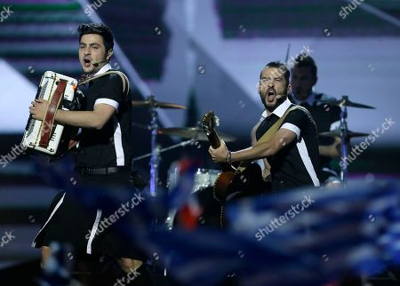 Stock Picture of Koza Mostra featuring Agathon Iakovidis of Greece perform their song Alcohol is Free during the second semifinal of the Eurovision Song Contest at the Malmo Arena in Malmo, Sweden, . The contest is run by European television broadcasters with the event being held in Sweden as they won the competition in 2012, the final will be held in Malmo on May 18