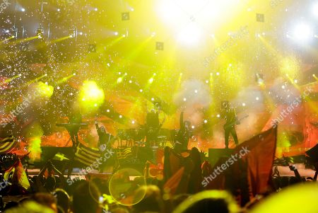 Stock Photo of Adrian Lugjuraj and Bledar Sejko of Albania perform their song Identitet (Identity) during the second semifinal of the Eurovision Song Contest at the Malmo Arena in Malmo, Sweden, . The contest is run by European television broadcasters with the event being held in Sweden as they won the competition in 2012, the final will be held in Malmo on May 18