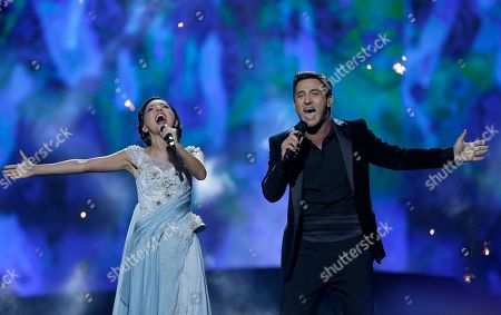 Stock Picture of Nodi Tatishvili and Sophie Gelovani of Georgia perform their song Waterfall during the second semifinal of the Eurovision Song Contest at the Malmo Arena in Malmo, Sweden, . The contest is run by European television broadcasters with the event being held in Sweden as they won the competition in 2012, the final will be held in Malmo on May 18