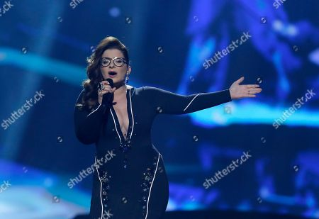 Moran Mazor of Israel performs her her song Rak Bishvilo (Only for You) during the second semifinal of the Eurovision Song Contest at the Malmo Arena in Malmo, Sweden, . The contest is run by European television broadcasters with the event being held in Sweden as they won the competition in 2012, the final will be held in Malmo on May 18