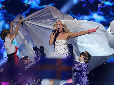 Krista Siegfrids, of Finland performs her song Marry Me during the second semifinal of the Eurovision Song Contest at the Malmo Arena in Malmo, Sweden, . The contest is run by European television broadcasters with the event being held in Sweden as they won the competition in 2012, the final will be held in Malmo on May 18