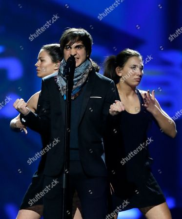 """Stock Picture of Belgium's Roberto Bellarosa performs his song """"Love Kills"""" during a rehearsal for the final of the Eurovision Song Contest at the Malmo Arena in Malmo, Sweden, . The contest is run by European television broadcasters with the event being held in Sweden as they won the competition in 2012, the final will be held in Malmo on May 18"""