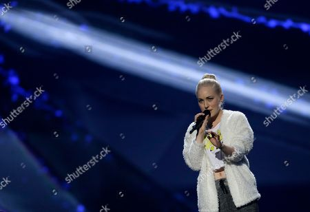 """Margaret Berger of Norway performs her song """"I Feed You My Love"""" during a rehearsal for the final of the Eurovision Song Contest at the Malmo Arena in Malmo, Sweden, . The contest is run by European television broadcasters with the event being held in Sweden as they won the competition in 2012, the final will be held in Malmo on May 18"""