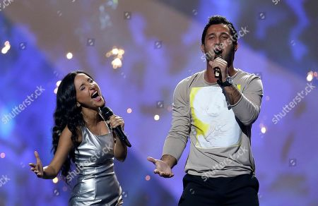 """Nodi Tatishvili and Sophie Gelovani of Georgia perform their song """"Waterfall"""" during a rehearsal for the final of the Eurovision Song Contest at the Malmo Arena in Malmo, Sweden, . The contest is run by European television broadcasters with the event being held in Sweden as they won the competition in 2012, the final will be held in Malmo on May 18"""