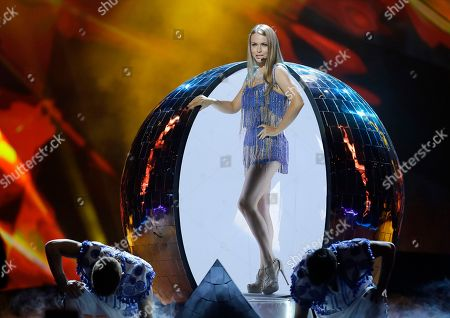 Alyona Lanskaya of Belarus performs her song Solayoh during a rehearsal for the final of the Eurovision Song Contest at the Malmo Arena in Malmo, Sweden, . The contest is run by European television broadcasters with the event being held in Sweden as they won the competition in 2012, the final will be held in Malmo on May 18